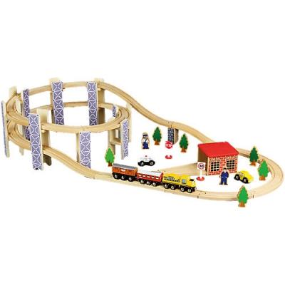 99075 Деревянная железная дорога с набором элементов ROYS