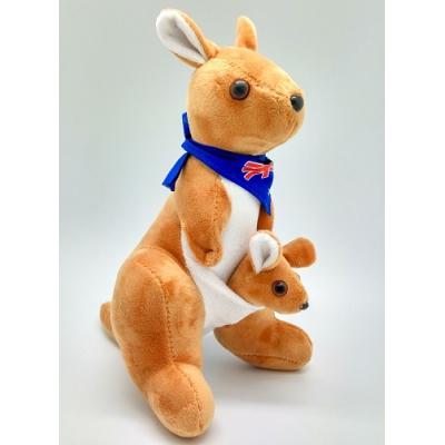 *KG0002 Мягкая игрушка Кенгуру с детенышем 25 см Абвгдейка