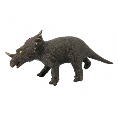 *РЕ0053  Динозавр Трицератопс коричневый 53 см, из каучука с мягкой набивкой
