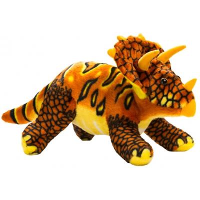 0068 Мягкая игрушка динозавр Трицератопс красный 25 см Абвгдейка