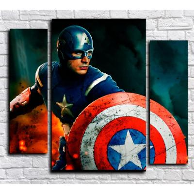"""99164 Модульная картина для детской """"Капитан Америка"""""""
