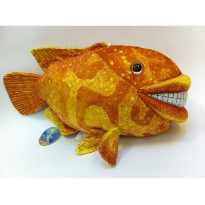 *SW-0052 Мягкая игрушка Рыба улыбающаяся оранжевая 45 см