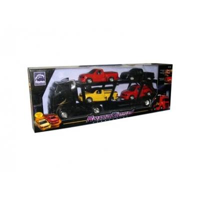 991310 Автотрейлер Дизель черный + 4 пикапа