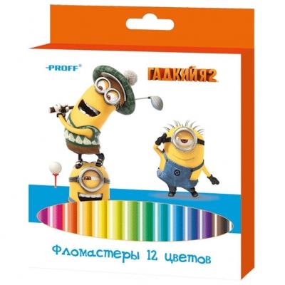 """9932V Фломастеры 12 цветов """"Гадкий Я"""""""