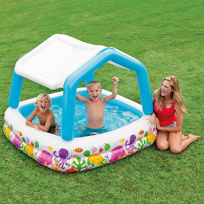 """99088 Детский надувной бассейн """"Домик с навесом"""" Intex"""