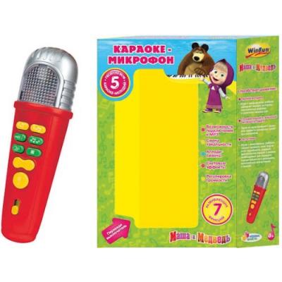 9934521K Караоке-микрофон со светом и звуком, Маша и медведь, Пой вместе со мной. Умка