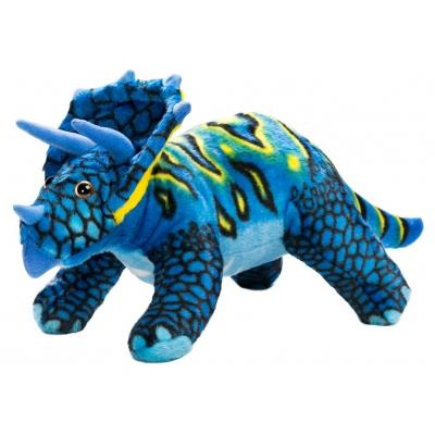 0068 Мягкая игрушка динозавр Трицератопс синий 25 см Абвгдейка