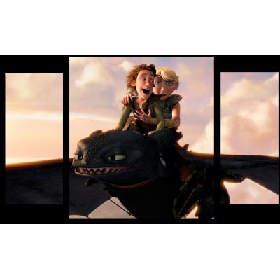 """999171 Модульная картина для детской """"Полет Ночной Фурии. Беззубик"""""""