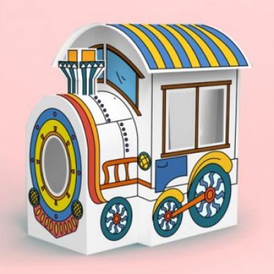 """997441 Паровозик большой из картона """"Раскрась сам!"""" Train House"""