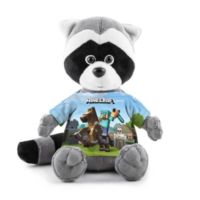 990016 Мягкая игрушка Енотик в футболке 3D «Minecraft на коне»