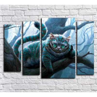 """99169 Модульная картина для детской """"Чеширский кот"""""""