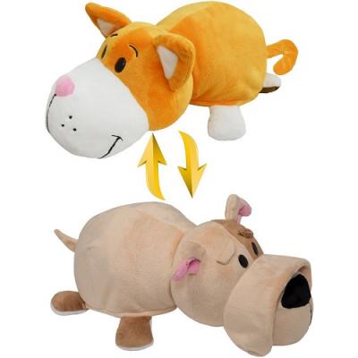 990017 Мягкая игрушка Вывернушка 2 в 1 Кот - Собака Бульдог 35 см 1TOY