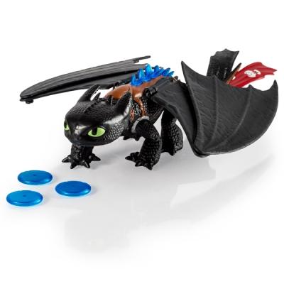 99602 Игрушка интерактивная Дракон Беззубик стреляет дисками 35 см Spin Master