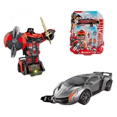 """9858 Трансформер-машина Воин (свет, звук) Красный """"Мир роботов"""" Play Smart"""