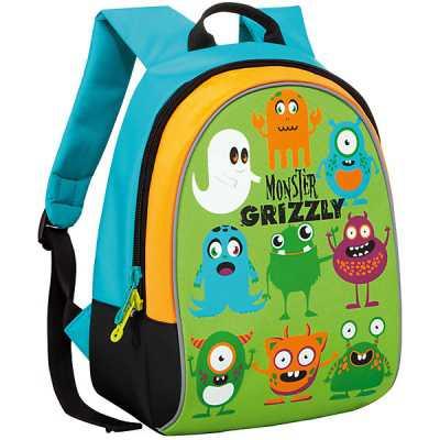 """99878 Школьный рюкзак """"Monster Grizzly"""" Салатовый Grizzly"""