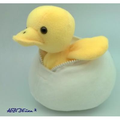 0223 Мягкая игрушка Утенок Берни в яйце 20 см Абвгдейка