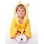"""990268 Халат детский """"Мишка"""" с ушками желтый"""