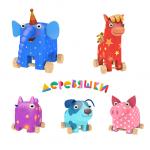 Купить 9906 Игровой набор из мультфильма «Деревяшки» 5 штук Деревянные игрушки