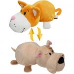 Купить 990017 Мягкая игрушка Вывернушка 2 в 1 Кот - Собака Бульдог 35 см 1TOY
