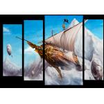 """99174 Модульная картина для детской """"Летучий корабль"""""""