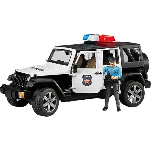Bruder Внедорожник Полиция с фигуркой Jeep Wrangler Unlimited Rubicon 02-526