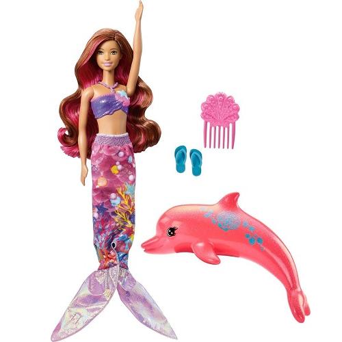 Игровой набор с куклой Барби Русалка-трансформер с дельфином Морские приключения Barbie FBD64