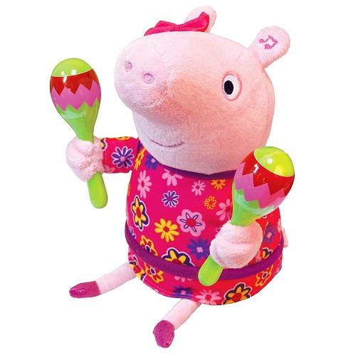 Свинка Пеппа Мягкая интерактивная игрушка Пеппа с маракасами 30 см