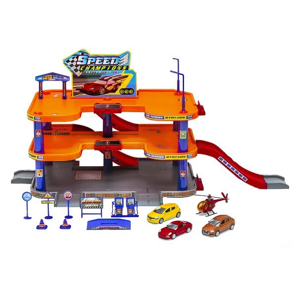 Велли Игровой набор Гараж, 3 уровня, включает 3 машины и вертолет Welly 96050
